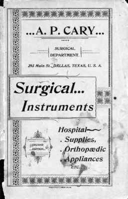 Cary's Illustrated and Priced Catalogue: Surgical Instruments